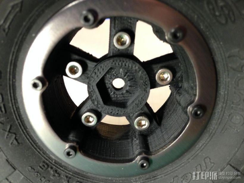 Axial SCX10 和Wraith的1.9夹片锁胎  12mm Hex 3D模型  图4