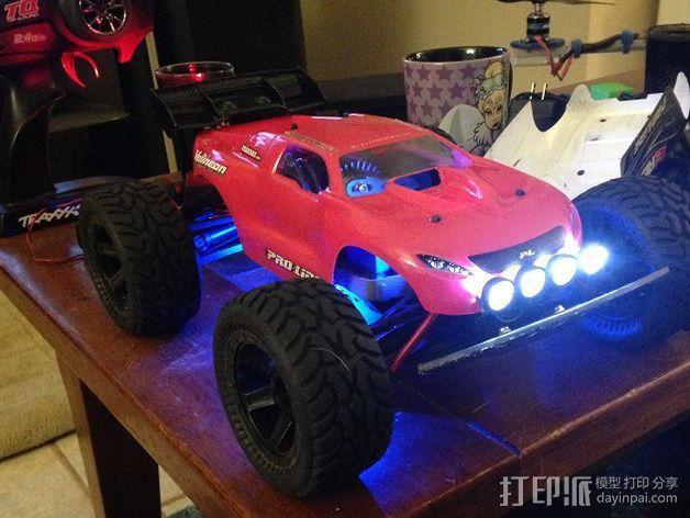 1/16Traxxas E-Revo越野车前置LED 灯 3D模型  图2