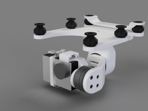 DJI Phantom 2的MotorPixie 2轴杆 3D模型  图2
