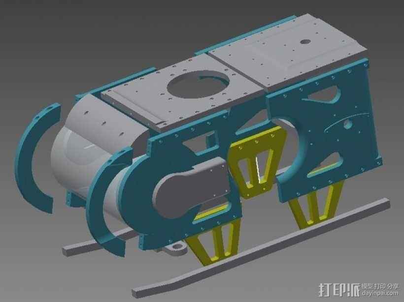 TimROV-一个开源远程追踪操作控制四轮车 3D模型  图1