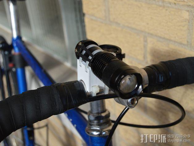 可定制自行车闪光灯固定槽 3D模型  图2