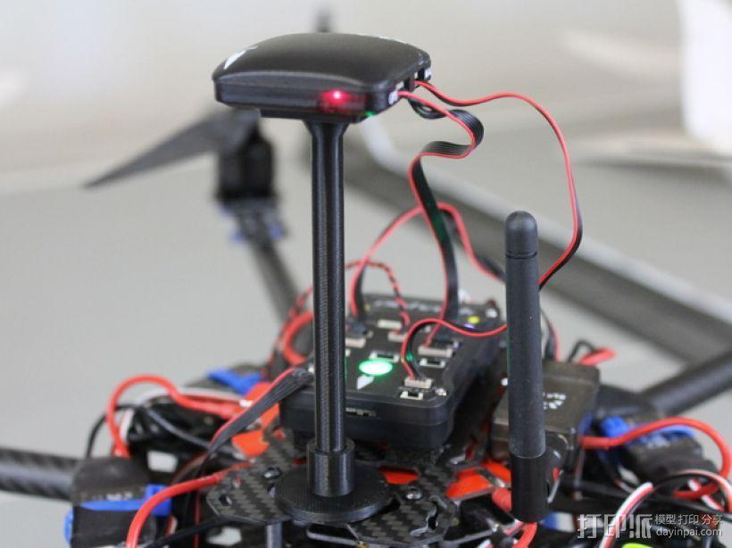 APM and Pixhawk Multirotors飞行器GPS/罗盘站架 3D模型  图1