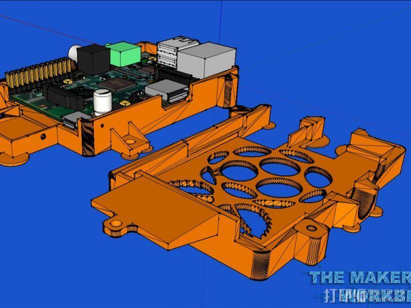 更加安全的树莓派壳 3D模型  图4