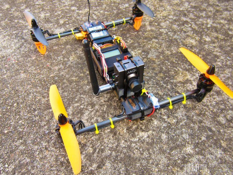 迷你H-Quad四轴飞行器 碳杆机身 3D模型  图6