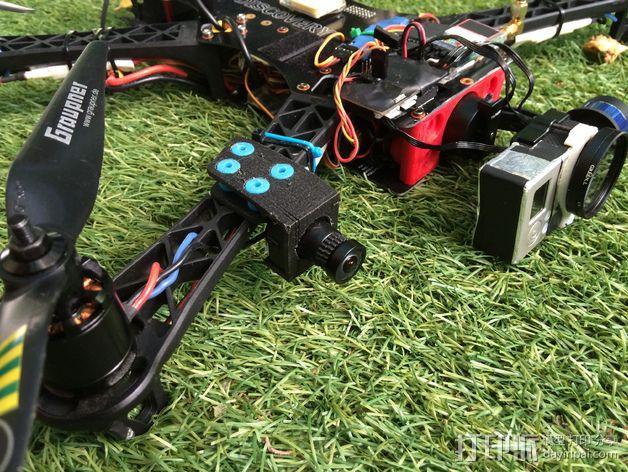Sony Super HAD 600TVL FPV 照相机的独立臂固定槽 3D模型  图2