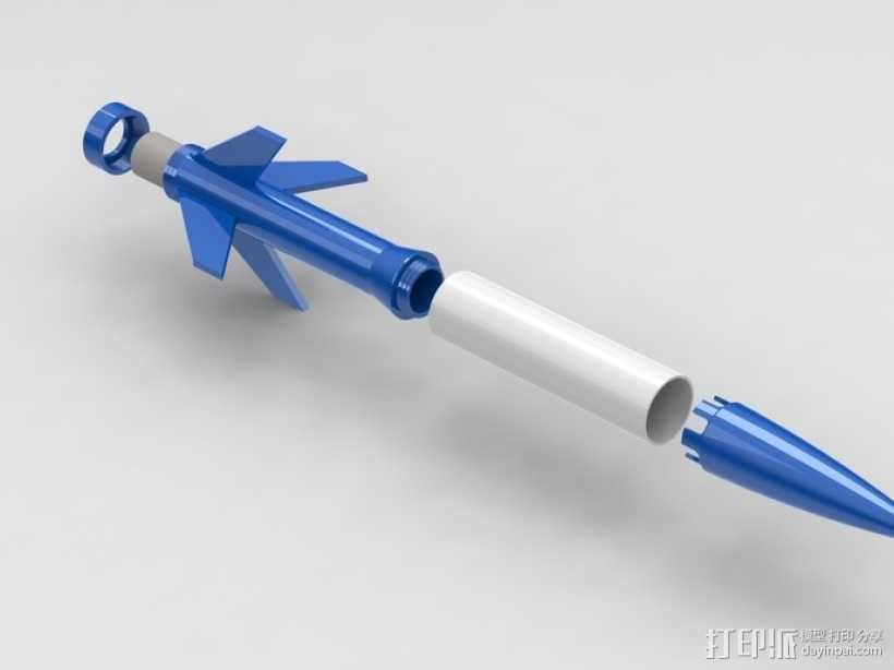 带有前掠翼的打印火箭 3D模型  图1