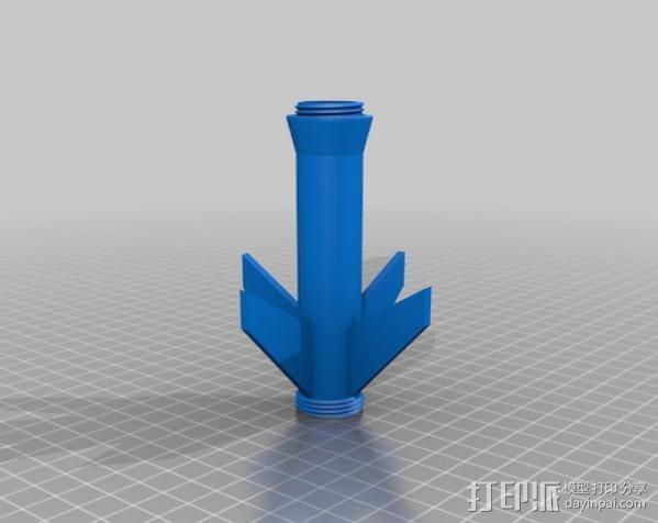 带有前掠翼的打印火箭 3D模型  图6