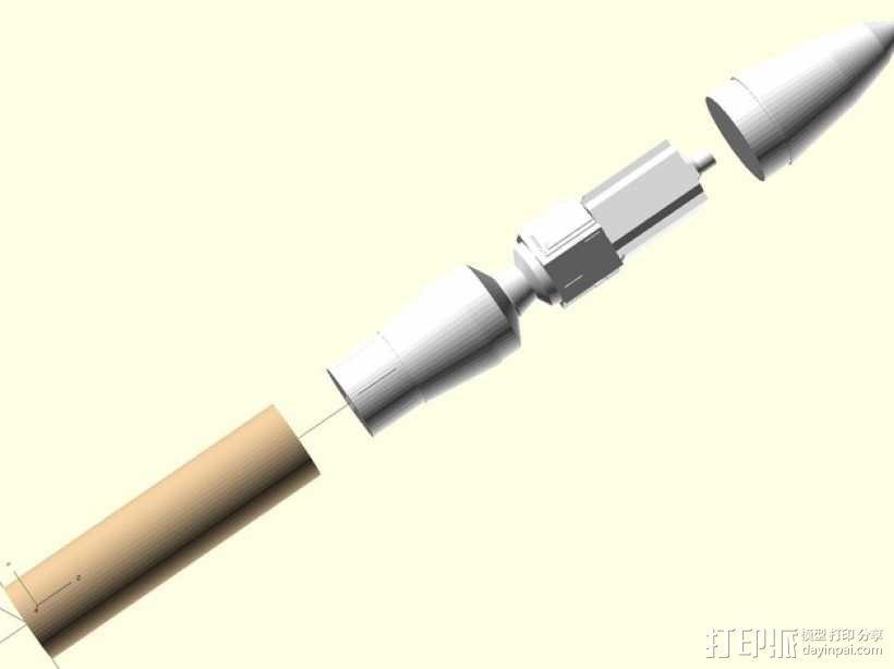 Estes GeoSat LV火箭塑料零部件 3D模型  图4