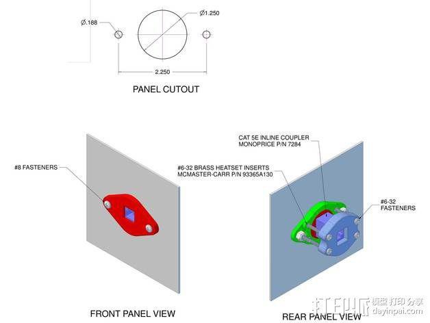 以太网内联耦合器安装面板 3D模型  图8
