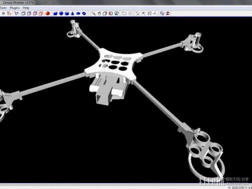 迷你fpv四轴飞行器组件 3D模型  图8