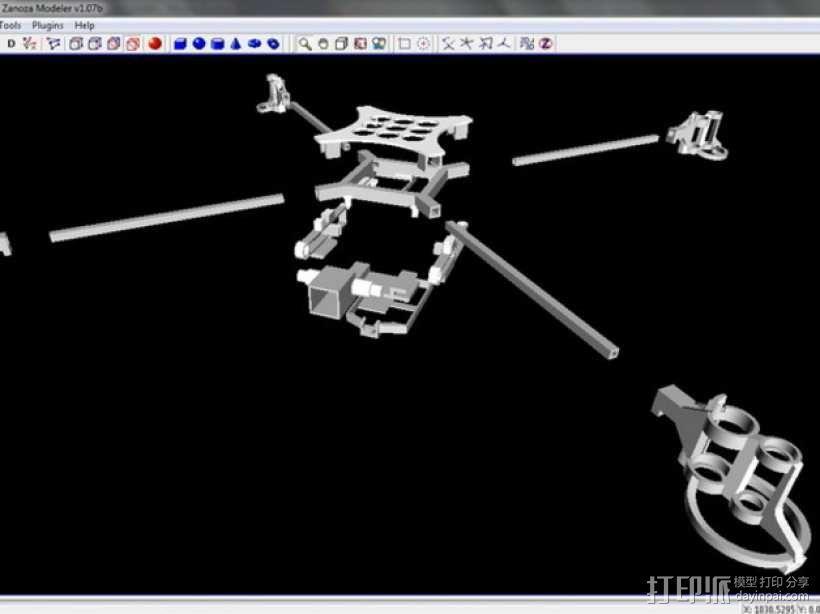 迷你fpv四轴飞行器组件 3D模型  图7