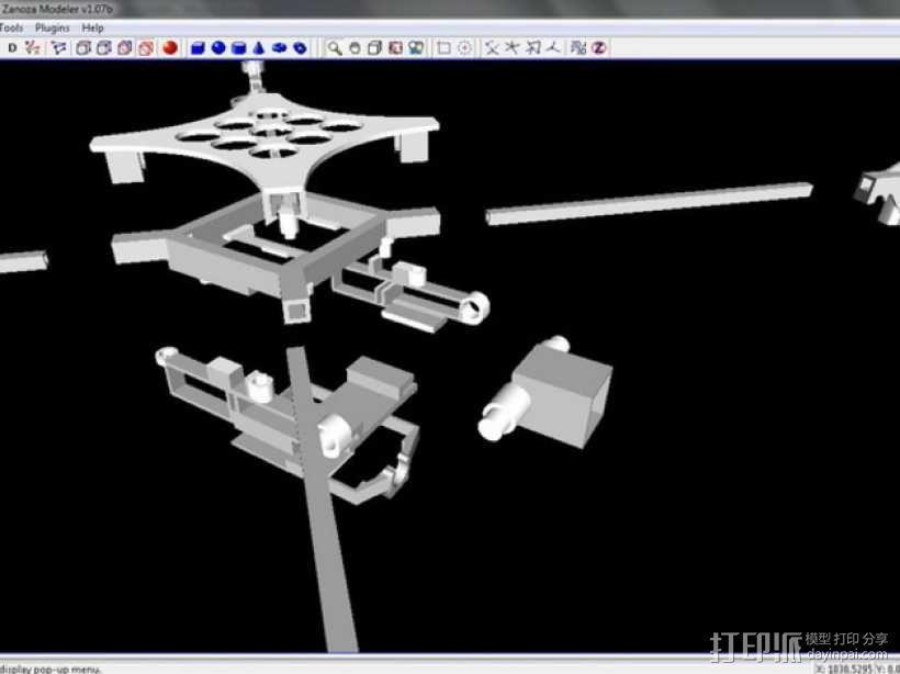 迷你fpv四轴飞行器组件 3D模型  图9