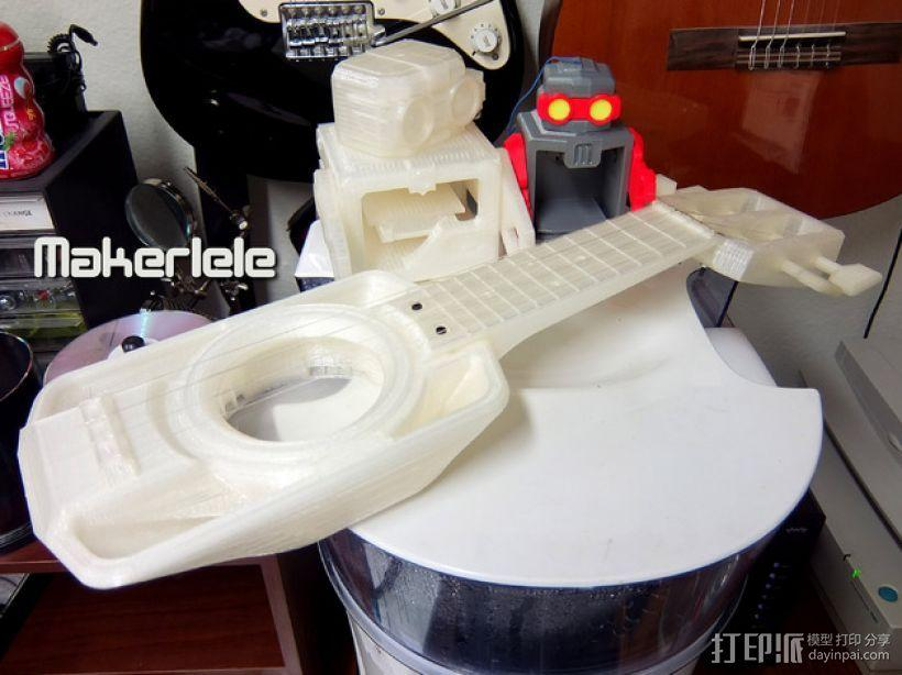 全打印尤克里里 3D模型  图1