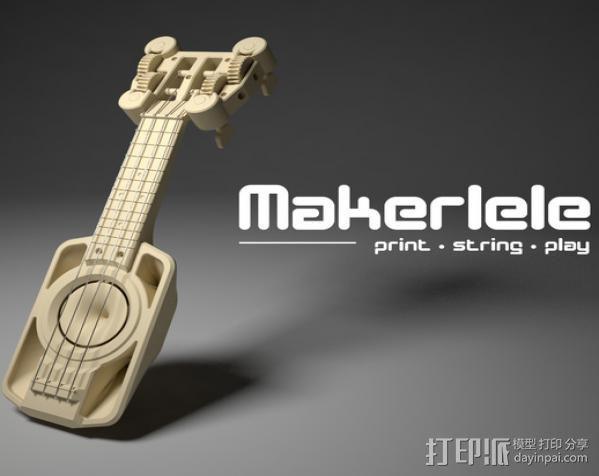 全打印尤克里里 3D模型  图2