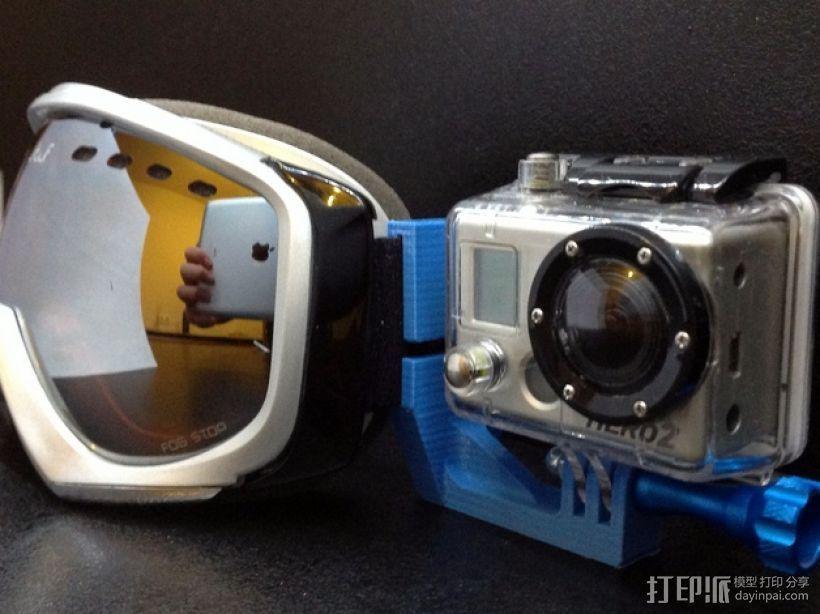 滑雪头盔 GoPro相机固定架 3D模型  图5
