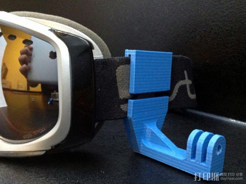 滑雪头盔 GoPro相机固定架 3D模型  图4