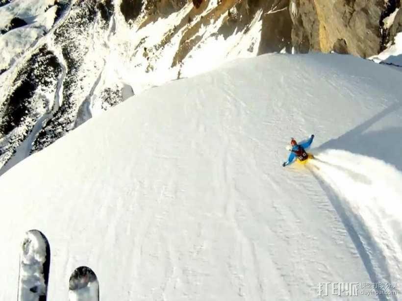 滑雪头盔 GoPro相机固定架 3D模型  图3