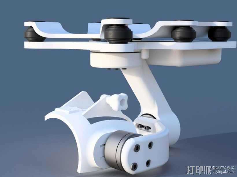 DJI Phantom 2摄像机3D平衡环 3D模型  图1