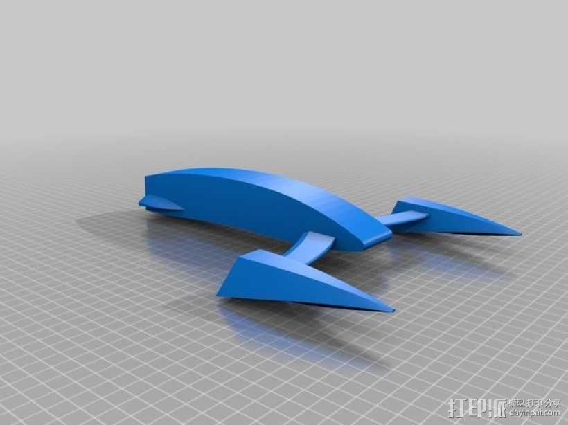桨叉架船 3D模型  图1