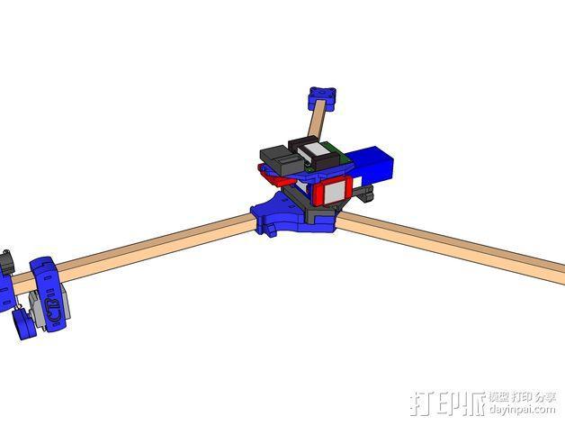 三轴飞行器 通用钩尾 3D模型  图2