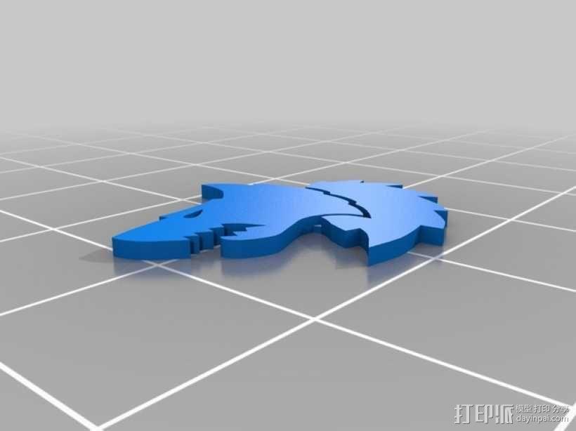 狼头 图标 3D模型  图4