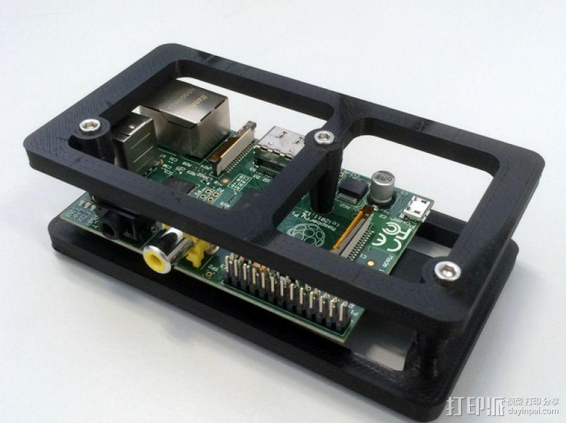 树莓派电路板 保护装置 3D模型  图1