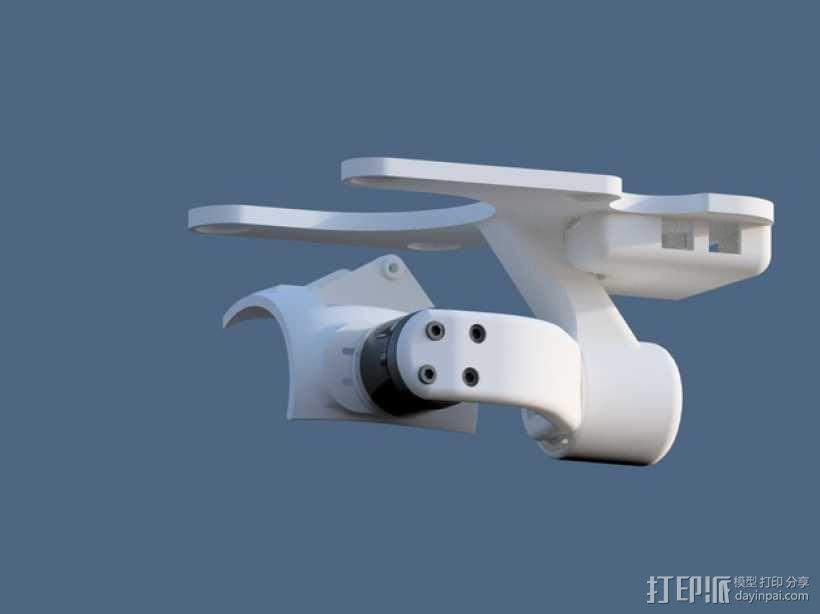 DJI Phantom 2四轴航拍器平衡环 3D模型  图1