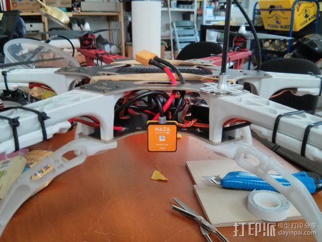 DJI F550六轴飞行器LED灯固定夹 3D模型  图4