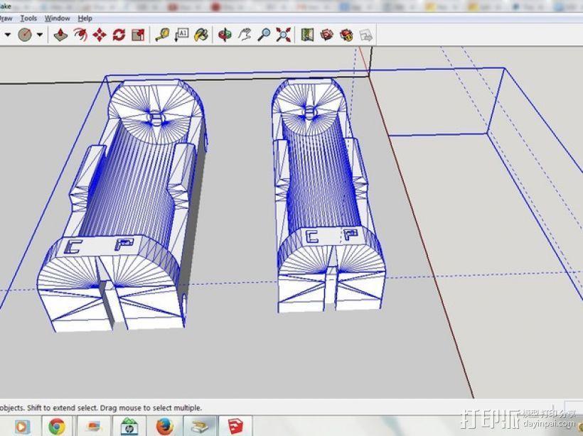 26650 18650电池夹 3D模型  图1