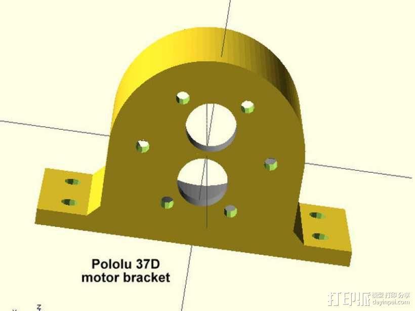 Pololu 37D齿轮降速马达 支架 3D模型  图3