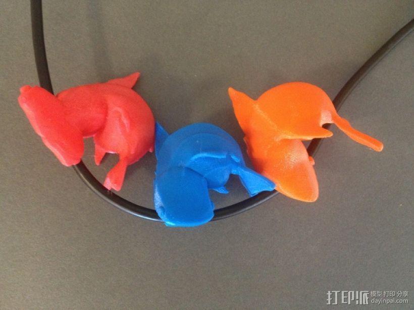 小鲨鱼 线缆夹 3D模型  图2
