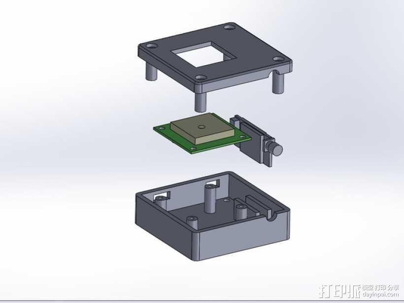 GPS和无线电小盒 3D模型  图1