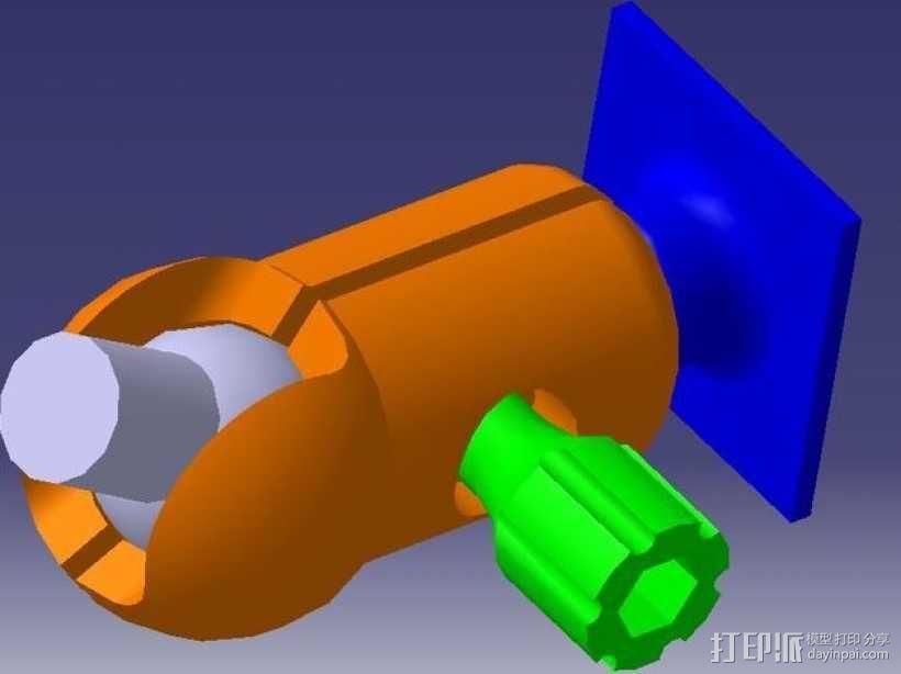 GoPro相机固定架 球形接头  3D模型  图1