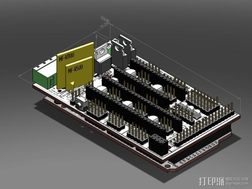 RAMPS 1.4 Ardunio Mega电路板模型 3D模型  图1