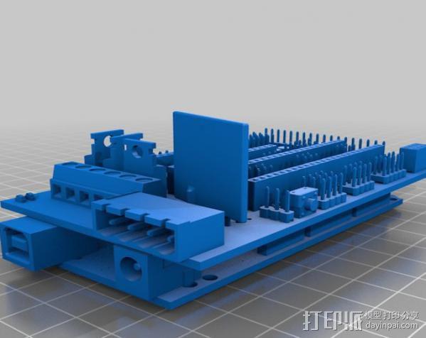 RAMPS 1.4 Ardunio Mega电路板模型 3D模型  图2