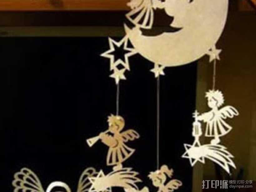 月亮 天使 挂饰 3D模型  图1