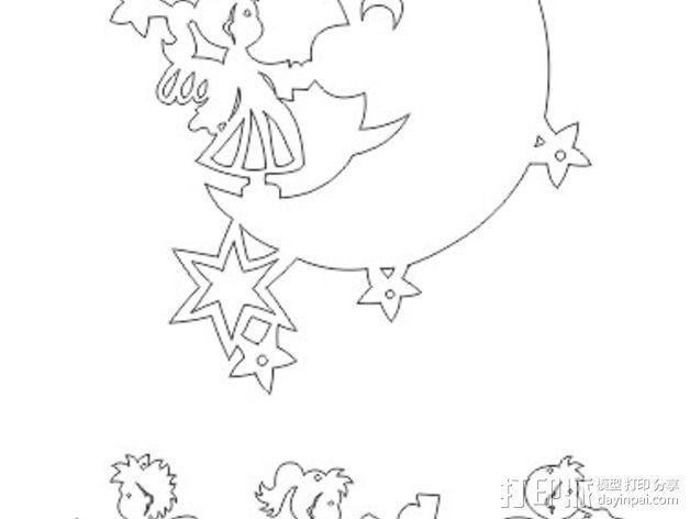 月亮 天使 挂饰 3D模型  图3