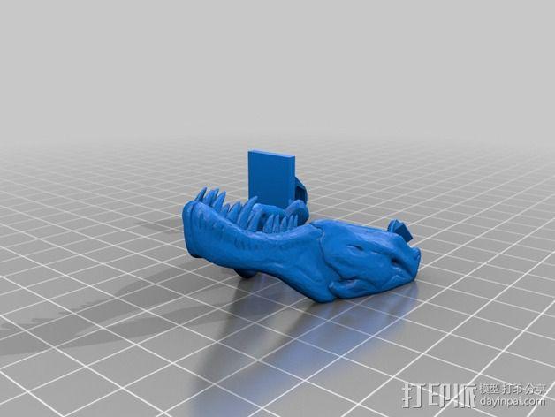 恐龙头骨 自行车车头装饰品 3D模型  图2