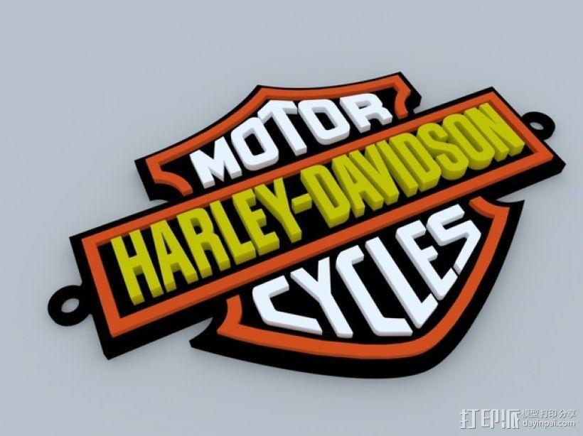 哈雷戴维森 摩托车标志 3D模型  图1