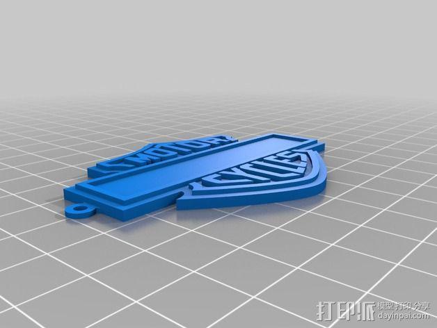 哈雷戴维森 摩托车标志 3D模型  图2