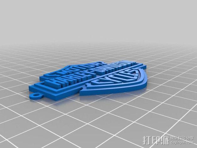 哈雷戴维森 摩托车标志 3D模型  图3