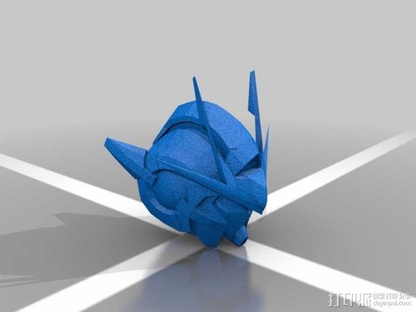 高达00 Raiser机器人头部 3D模型  图2
