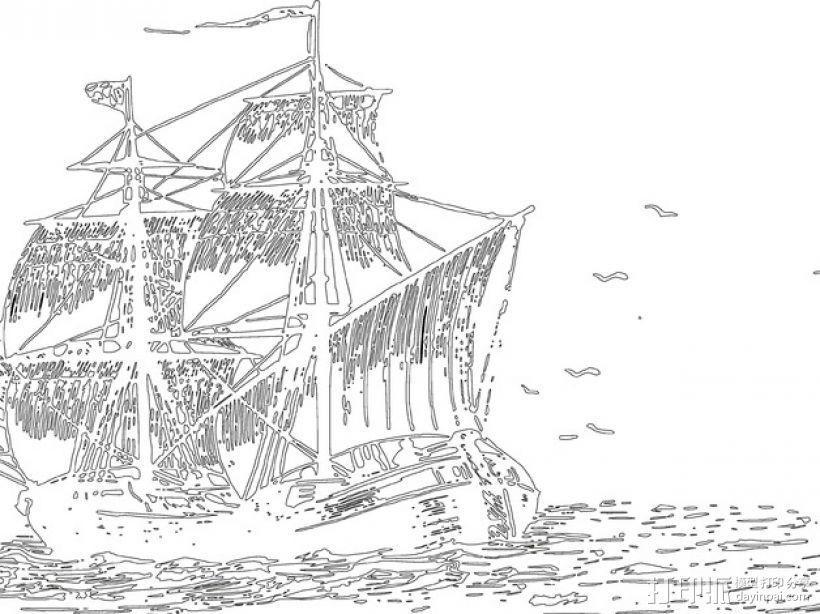 """""""黎明踏浪号""""帆船浮雕 3D模型  图3"""