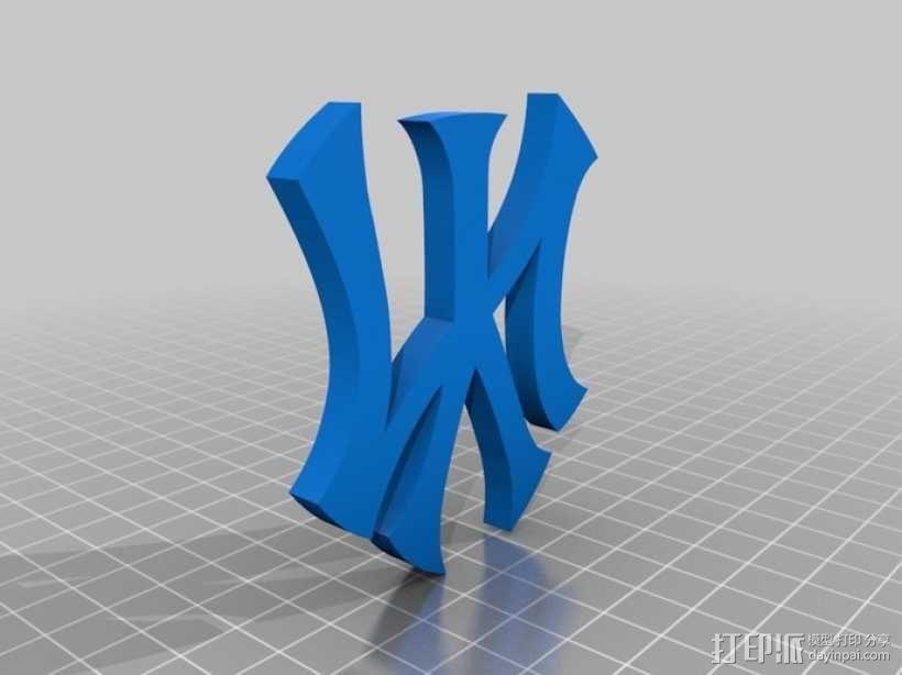 纽约扬基棒球队 标志 3D模型  图4
