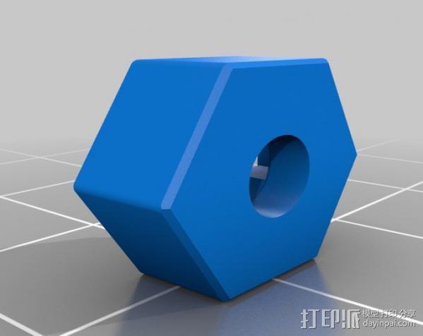 遥控赛车六边形轮胎 3D模型  图2