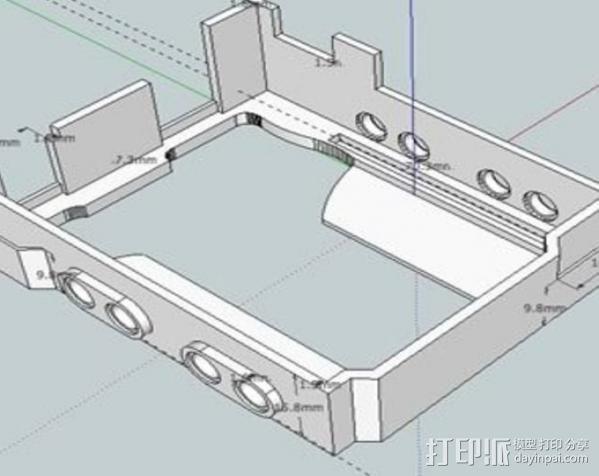 Arduino UNO和Adafruit WAV电路板外壳  3D模型  图5