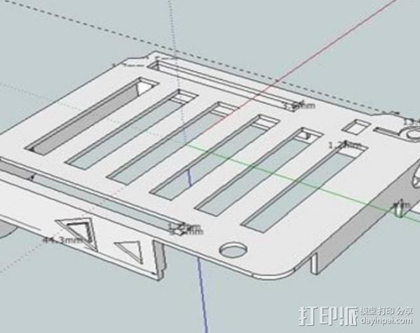Arduino UNO和Adafruit WAV电路板外壳  3D模型  图6