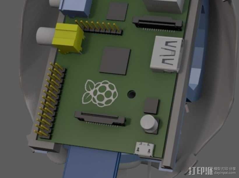 树莓派电路板 托盘 3D模型  图2