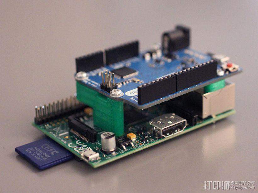 Arduino和树莓派电路板底板 3D模型  图2