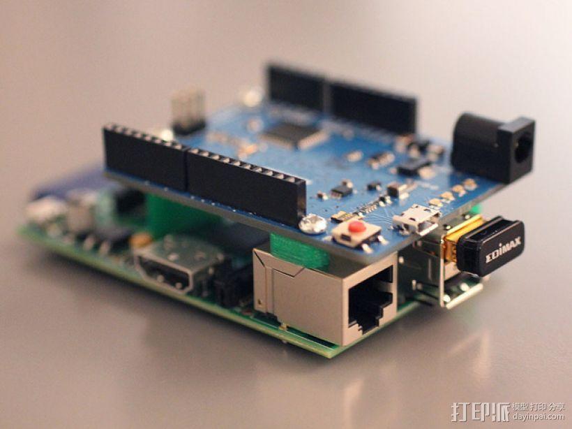 Arduino和树莓派电路板底板 3D模型  图4